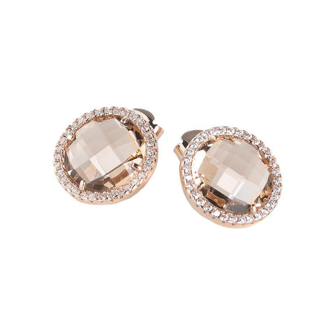 Related product : Earrings in the lobe with crystals peach and zircons