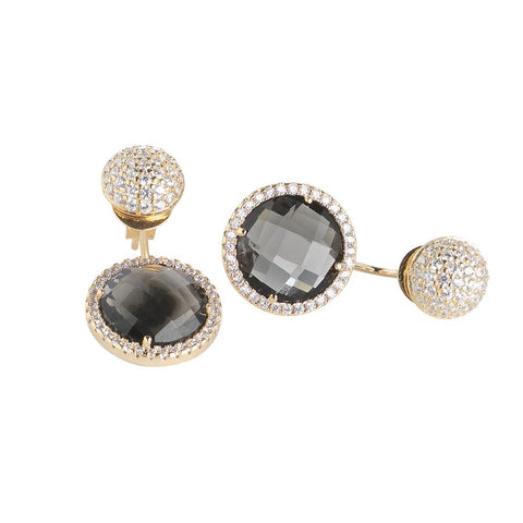Related product : Reversible earrings with zircons and crystals smoky quartz