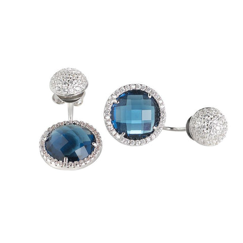 Related product : Reversible earrings with zircons and crystals Montana