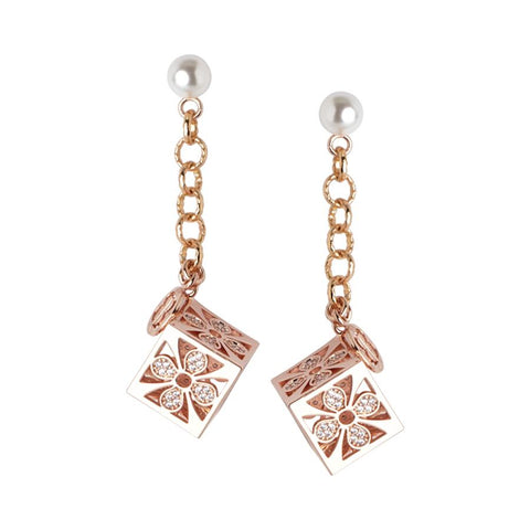 Rose earrings with Swarovski pearl and cube zircons