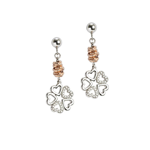 Rodiati Earrings Pendant with four-leaf clover and zircons