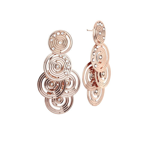 Cluster Earrings Gold plated pink from drawing concentric and Swarovski