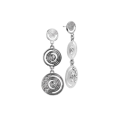 Earrings hanging from drawing concentric and Swarovski