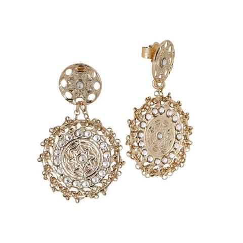 Related product : Earrings Gold Plated yellow with Etruscan decoration and Swarovski