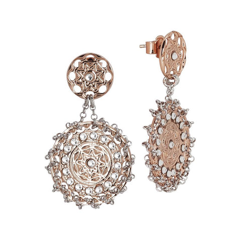 Related product : Earrings Gold plated pink with Etruscan decoration and Swarovski