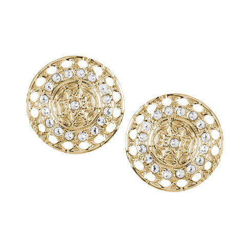 Related product : Earrings in the lobe Gold Plated yellow with Etruscan decoration and Swarovski