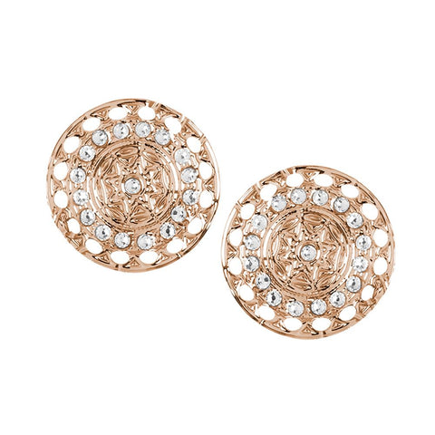 Earrings in the lobe gold plated pink with Etruscan decoration and Swarovski