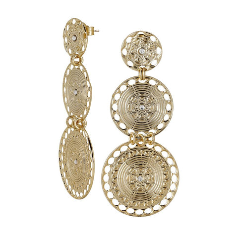 Related product : Earrings with circular pendants Gold Plated yellow of Etruscan inspiration and Swarovski