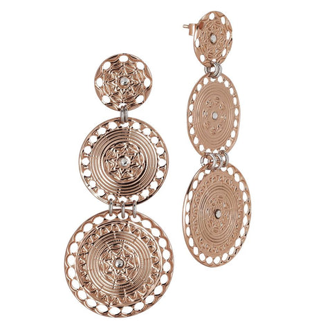 Related product : Earrings with circular pendants gold plated pink of Etruscan inspiration and Swarovski