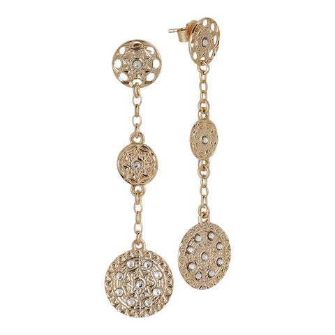Pendant earrings Gold Plated yellow with decorations of the Etruscans and Swarovski
