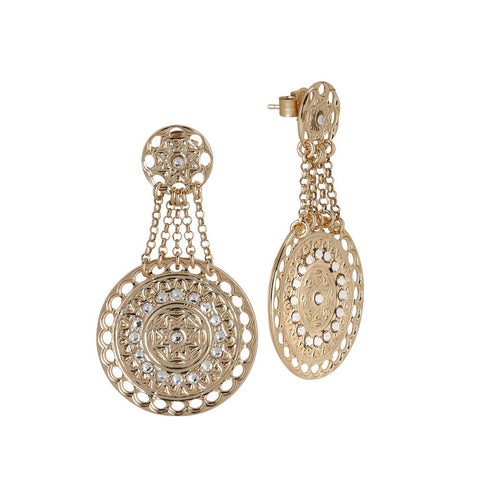 Related product : Earrings Gold Plated yellow with chains and Etruscan pendant with Swarovski