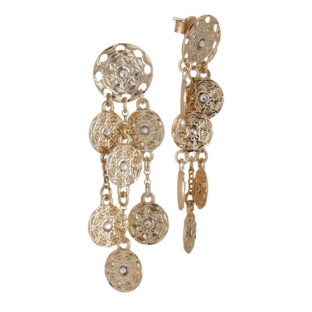 Earrings Gold Plated yellow with pendant in bunches from the etruscan decoration and Swarovski