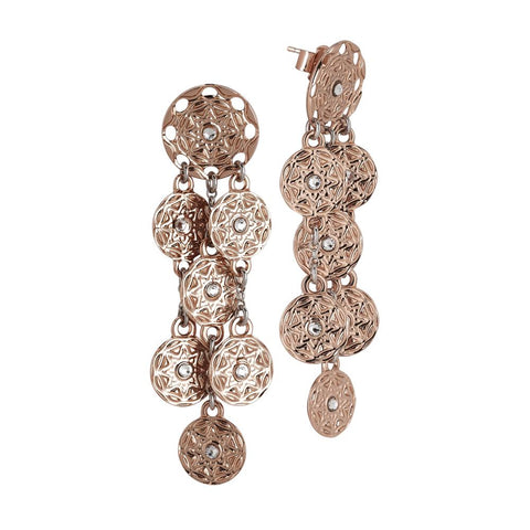 Related product : Plated Earrings Pink Gold pendant with a bunch from etruscan decoration and Swarovski