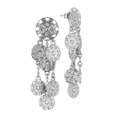 Earrings with pendant in bunches from the etruscan decoration and Swarovski