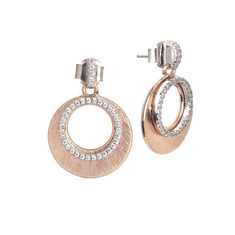 Earrings in the lobe gold plated pink with decoration effect scratched and zircons