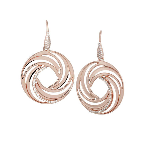 Related product : Plated Earrings Pink Gold pendant with circular vortex and zircons