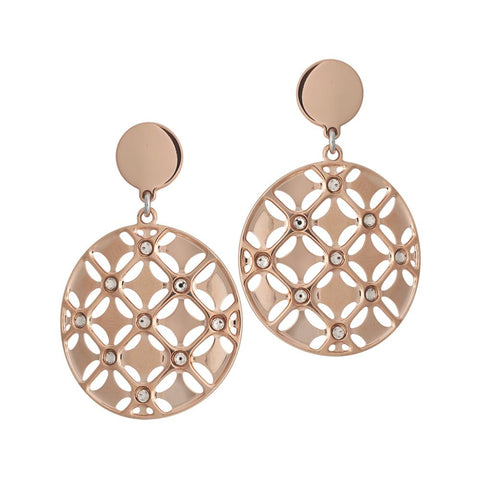 Plated Earrings Pink Gold pendant with circular decorated in relief and Swarovski