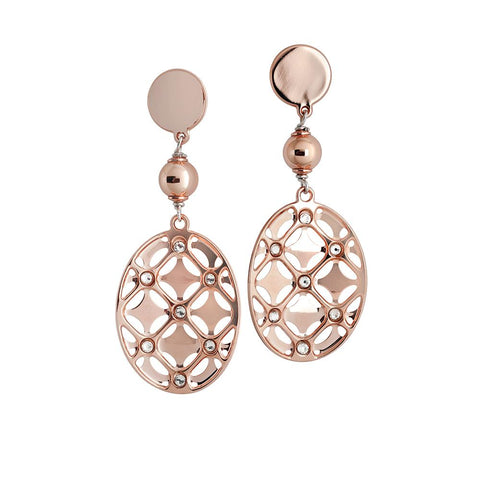 Pendant earrings gold plated pink with circle decorated and Swarovski