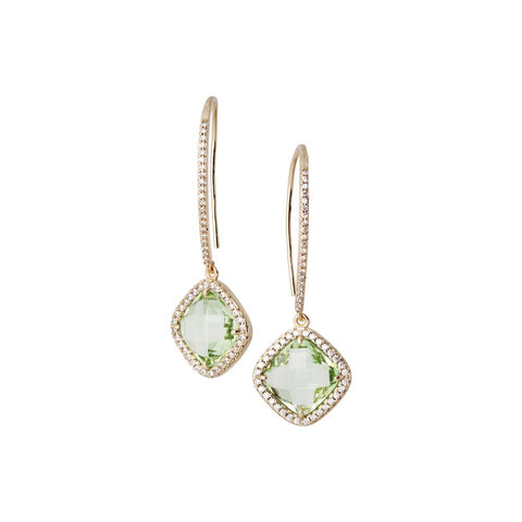 Related product : Earrings with hook monachella, crystal chrysolite and zircons
