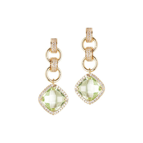 Related product : Earrings with crystal pendant chrysolite and zircons