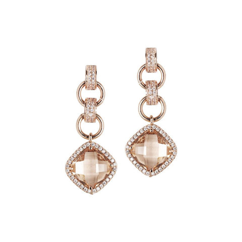 Related product : Earrings with crystal pendant peach and zircons