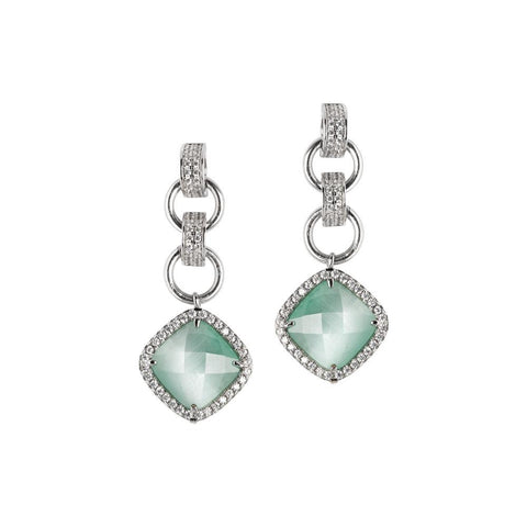 Related product : Earrings with crystal green mint pendant and zircons