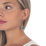 Earrings with pin of zircons and pendant blue Montana