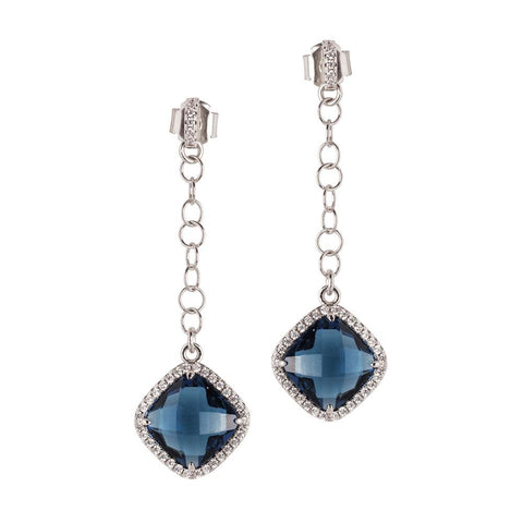 Related product : Earrings with pin of zircons and pendant blue Montana