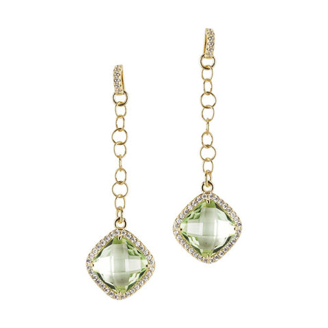 Related product : Earrings with pin of zircons and chrysolite pendant