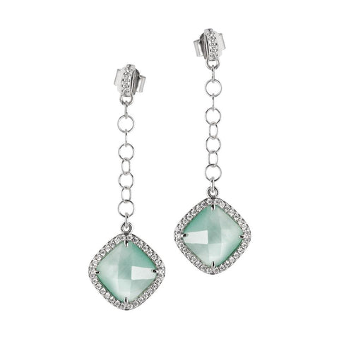 Related product : Earrings with pin of zircons and pendant green mint