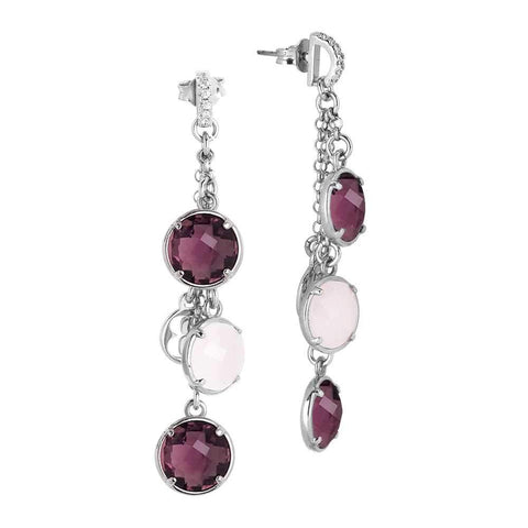 Earrings a sprig of crystals amethyst and rose quartz milk with zircons