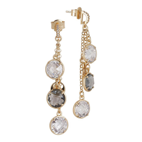 Earrings a sprig of crystals crystal and fumè with zircons