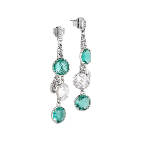 Earrings a sprig of crystals crystal and green water with zircons