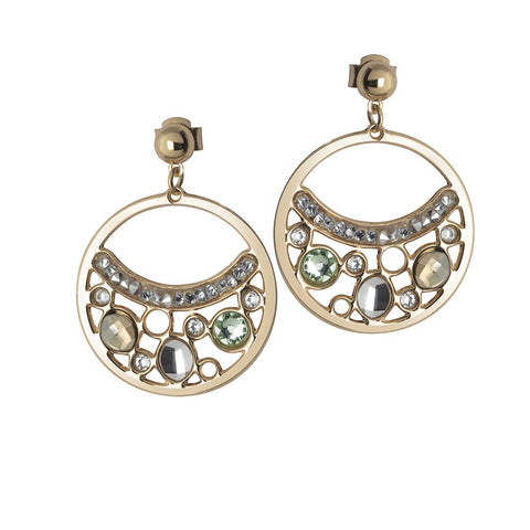 Related product : Earrings Plated yellow gold pendant with a circle and Swarovski Crystals