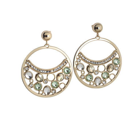 Related product : Circle Earrings Pendant with Swarovski crystal, chrysolite and gold