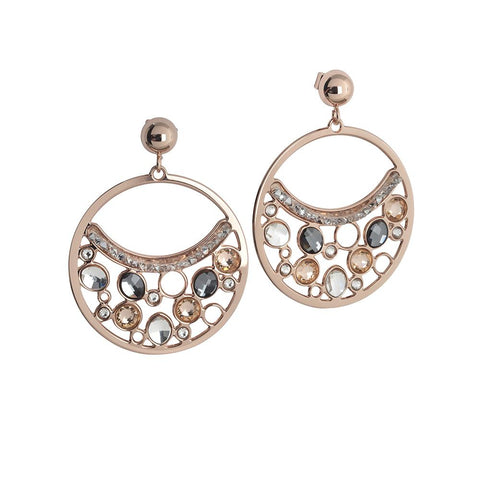 Related product : Circle Earrings Pendant with Swarovski crystal, peach and silver night
