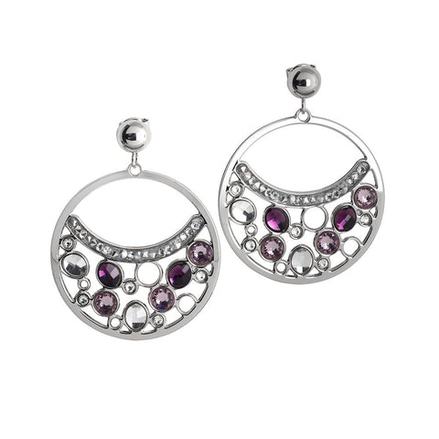 Related product : Circle Earrings Pendant with Swarovski crystal and ametyst
