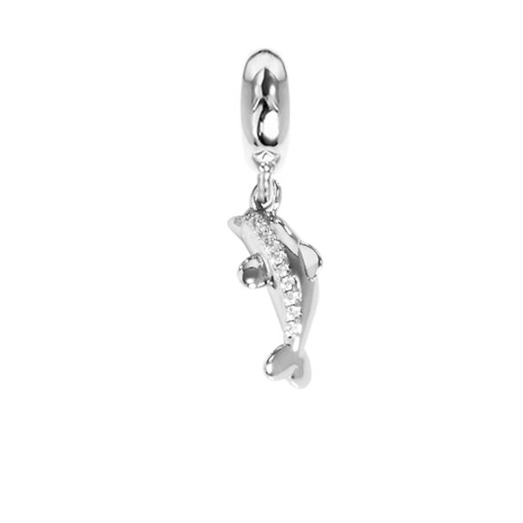 Charm in the shape of a dolphin with zircons