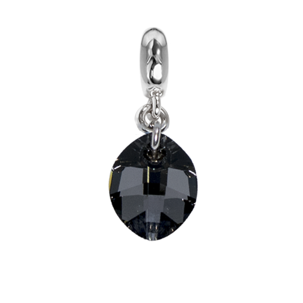 Charm with Swarovski Crystal drop silver night