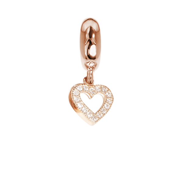 Rose charm in the shape of a heart with zircons