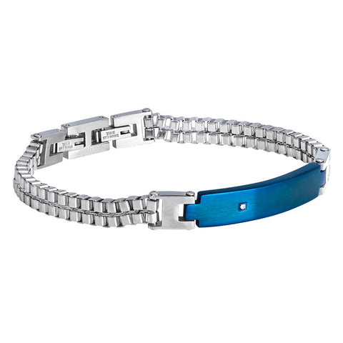 Bracelet double mesh, enamelled steel blue and zircon