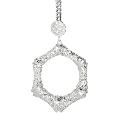 Necklace in silver with hexagonal pendant