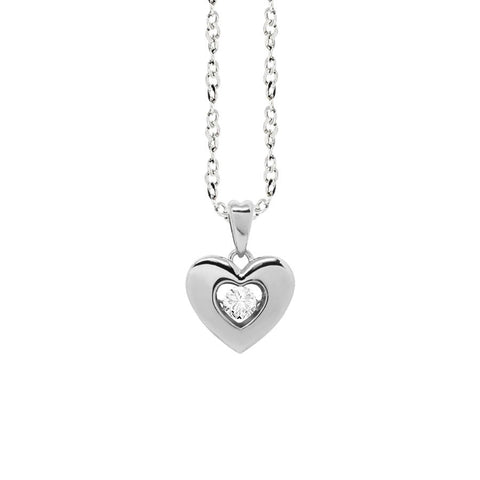 "Related product : Necklace with a pendant in the heart measure ""small"" and zircon"