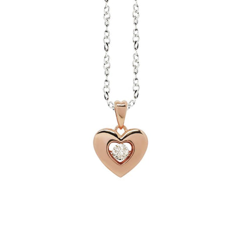 "Related product : Necklace bicolor with a pendant in the heart measure ""small"" and zircon"
