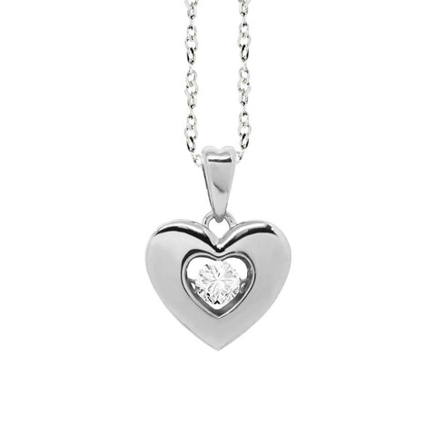 "Related product : Necklace with a pendant in the heart measure ""medium"" and zircon"