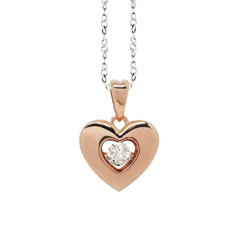 "Related product : Necklace bicolor with a pendant in the heart measure ""medium"" and zircon"