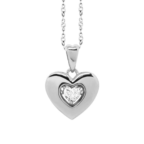 "Related product : Necklace with a pendant in the heart measure ""large"" and zircon"