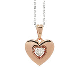 "Necklace bicolor with a pendant in the heart measure ""large"" and zircon"