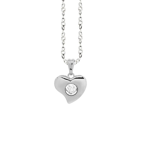 "Related product : Necklace Pendant with a curved heart measurement ""small"" and zircon"