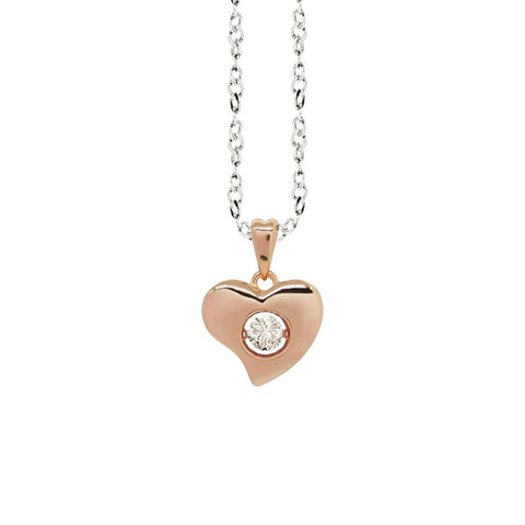 "Related product : Necklace bicolor pendant with a curved heart measurement ""small"" and zircon"